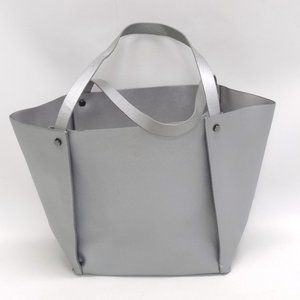 Neiman Marcus Silver Faux Leather Tote